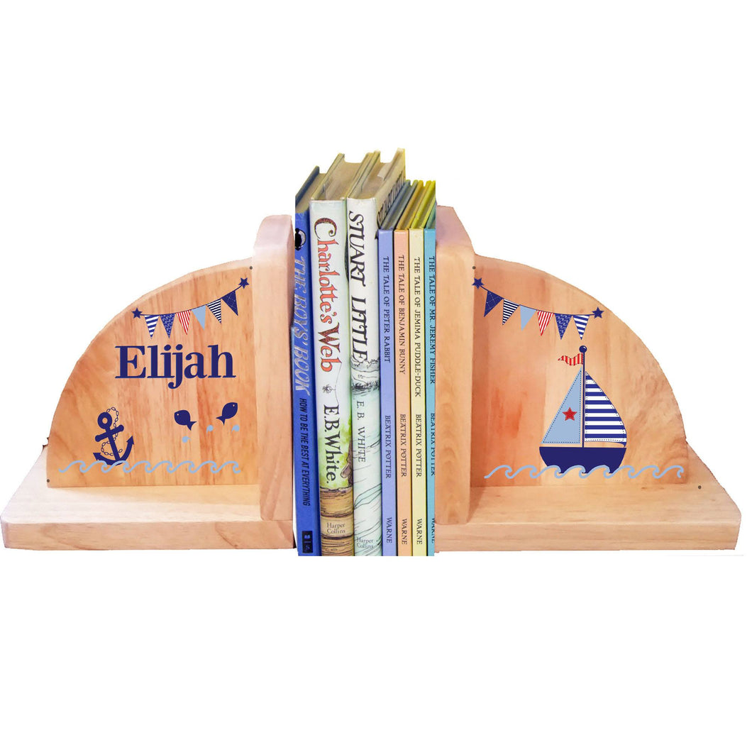 Personalized Sailboat Natural Childrens Wooden Bookends