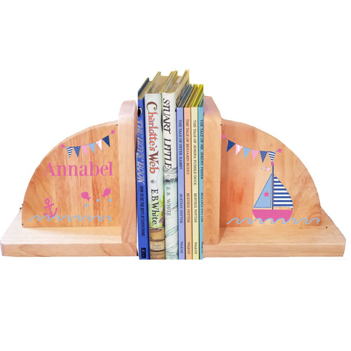 Personalized Sailboat Girl Natural Childrens Wooden Bookends