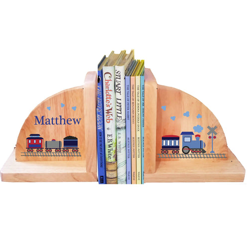 Personalized Train Natural Childrens Wooden Bookends