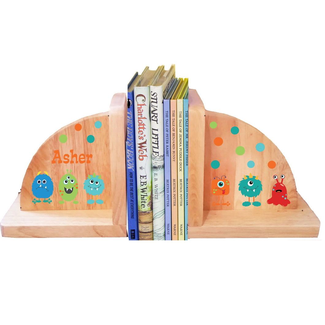 Personalized Monsters Natural Childrens Wooden Bookends