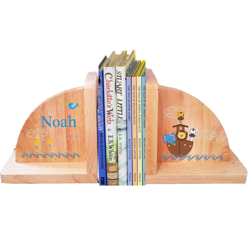 Personalized Noahs Ark Natural Childrens Wooden Bookends