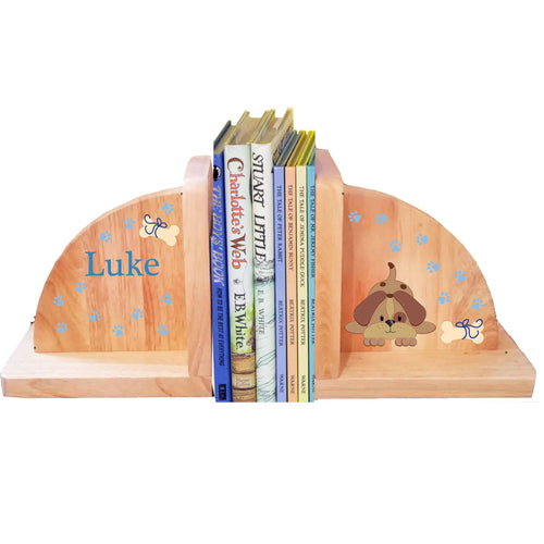 Personalized Puppy Blue Natural Childrens Wooden Bookends