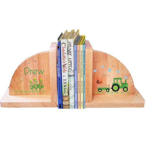 Personalized Natural Wooden Bookends with Green Tractor design