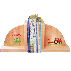 Personalized Red Tractor Natural Childrens Wooden Bookends
