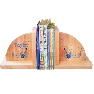 Personalized Rock Star Blue Natural Childrens Wooden Bookends
