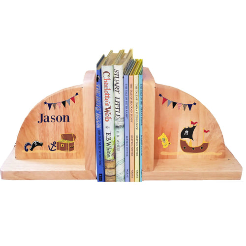 Personalized Pirate Natural Childrens Wooden Bookends