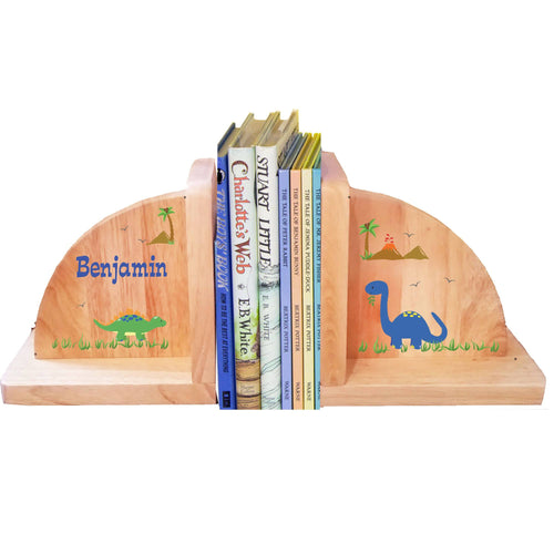 Personalized Dinosaur Natural Childrens Wooden Bookends