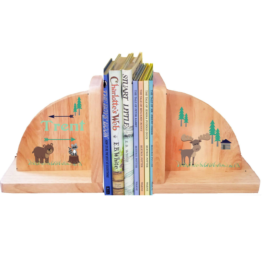 Personalized North Woodland Natural Childrens Wooden Bookends