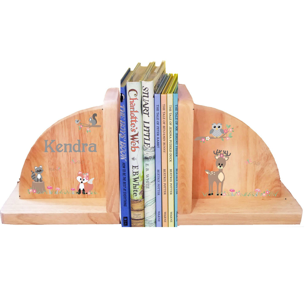 Personalized Natural Wooden Bookends with Gray Woodland Critters design