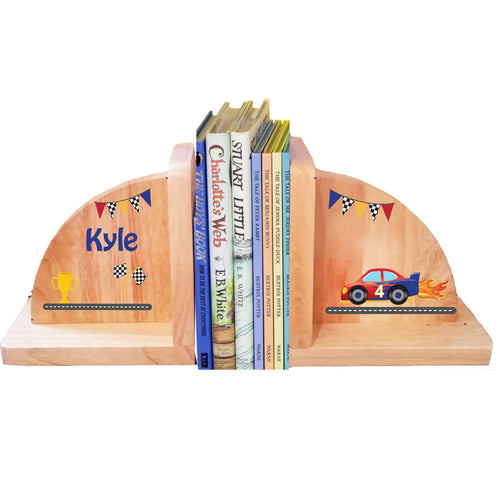 Personalized Race Car Natural Childrens Wooden Bookends