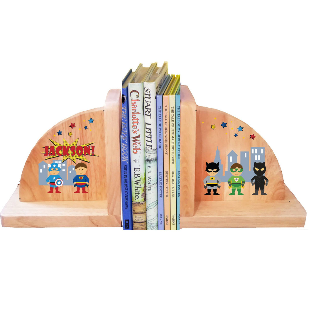 Personalized Superhero Natural Wooden Bookends