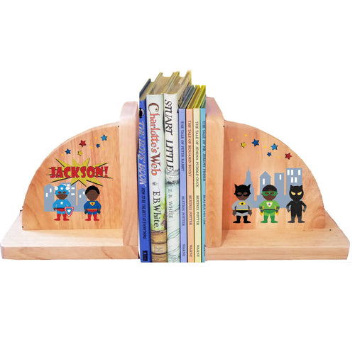 Personalized Superhero African American Natural Childrens Wooden Bookends