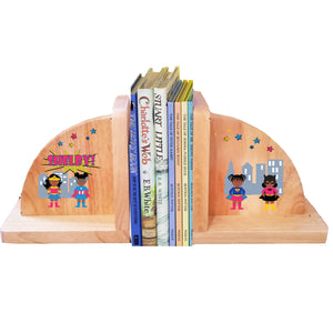 Personalized Super Girls African American Natural Childrens Wooden Bookends