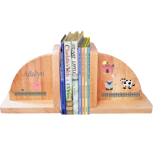 Personalized Barnyard Pastel Natural Childrens Wooden Bookends