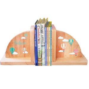 Personalized Hot Air Balloon Pastel Natural Childrens Wooden Bookends