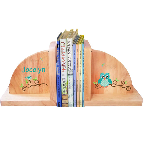 Personalized Gingham Owl Natural Childrens Wooden Bookends