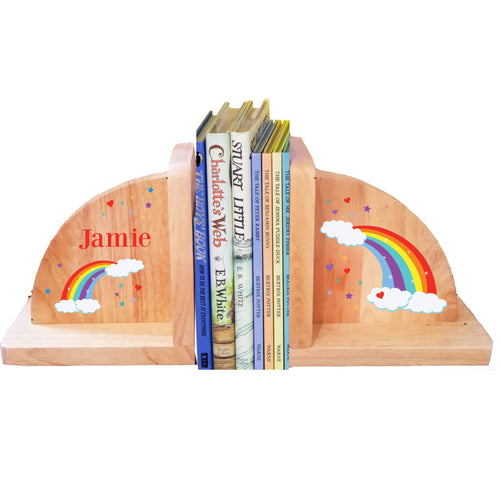 Personalized Rainbow Primary Natural Childrens Wooden Bookends