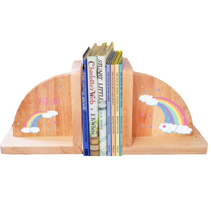 Personalized Rainbow Pastel Natural Childrens Wooden Bookends