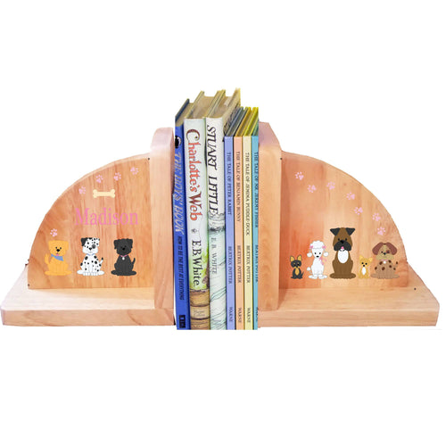 Personalized Natural Wooden Bookends with Pink Dog design