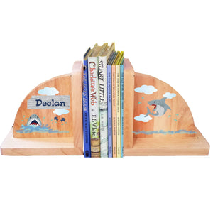 Personalized Shark Tank Natural Wooden Bookends