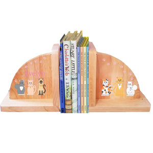 Personalized All Cats Pink Natural Childrens Wooden Bookends
