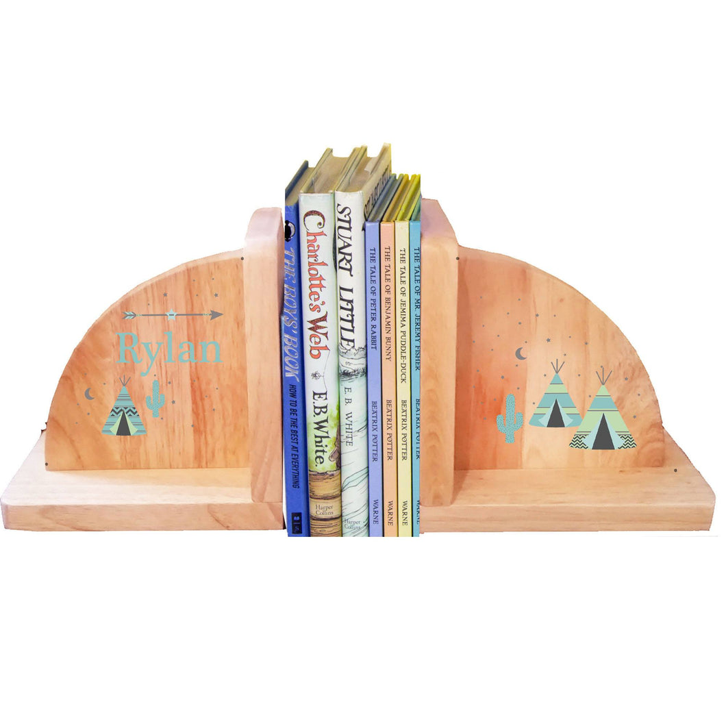 Personalized Natural Wooden Bookends with Arrows Gold and Grey design
