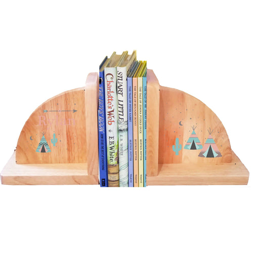 Personalized Teepee Mint Natural Childrens Wooden Bookends