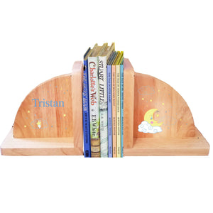 Personalized Moon And Stars Natural Childrens Wooden Bookends