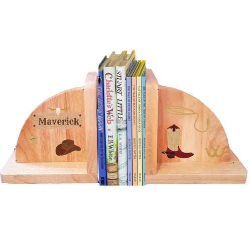 Personalized Wild West Natural Childrens Wooden Bookends