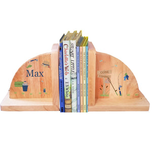Personalized Natural Wooden Bookends with Gone Fishing design