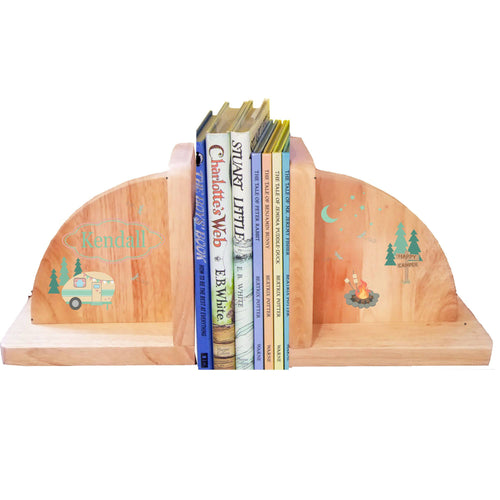 Personalized Camp Smore Natural Wooden Bookends