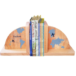 Personalized World Map Blue Natural Wooden Bookends