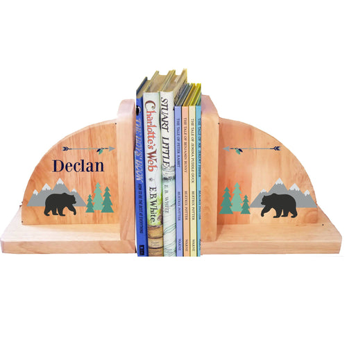 Personalized Mountain Bear Natural Wooden Bookends