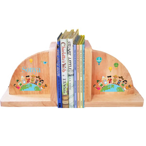 Personalized Small World Natural Wooden Bookends