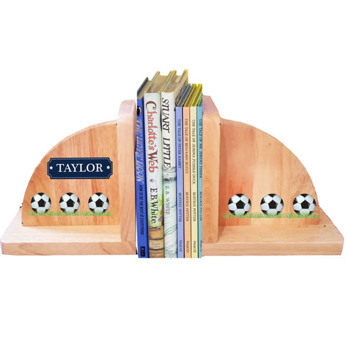 Personalized Soccer Balls Natural Wooden Bookends