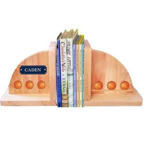 Personalized Basketballs Natural Wooden Bookends