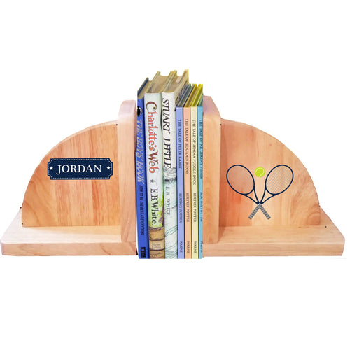 Personalized Tennis Natural Wooden Bookends