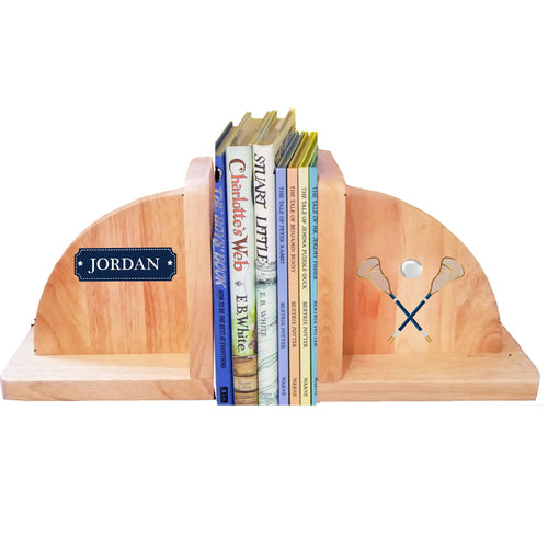 Personalized Lacrosse Sticks Natural Wooden Bookends