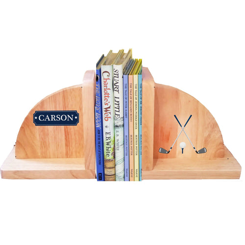 Personalized Golf Natural Wooden Bookends