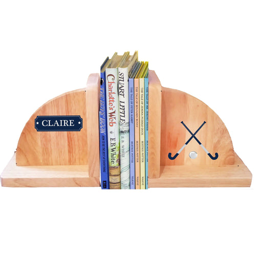 Personalized Field Hockey Natural Wooden Bookends