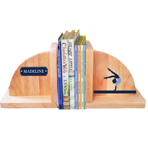 Personalized Gymnastics Natural Wooden Bookends