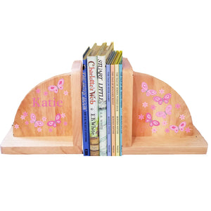 Personalized Butterfly Pink Natural Childrens Wooden Bookends