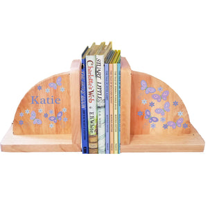 Personalized Butterflies Lavender Natural Childrens Wooden Bookends