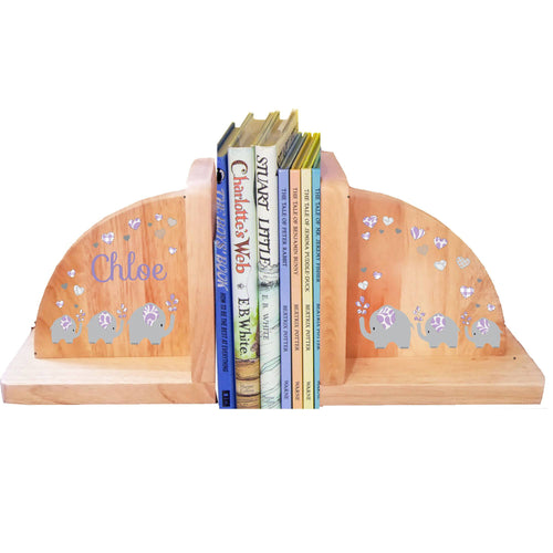 Personalized Elephant Lavender Natural Wooden Bookends