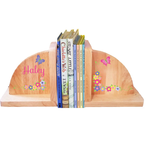 Personalized Butterfly Garland Hot Natural Childrens Wooden Bookends