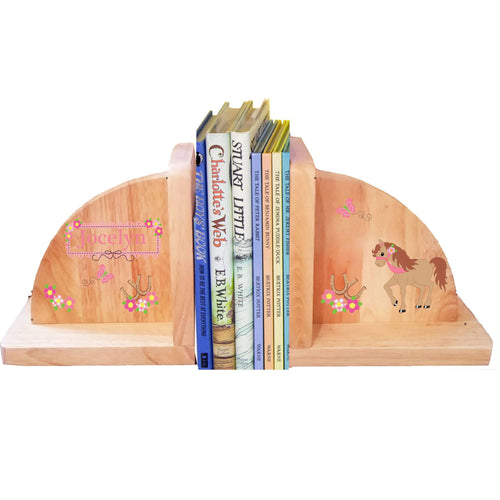 Personalized Prancing Pony Natural Childrens Wooden Bookends