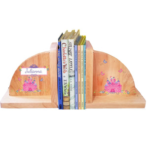 Personalized Princess Castle Natural Childrens Wooden Bookends