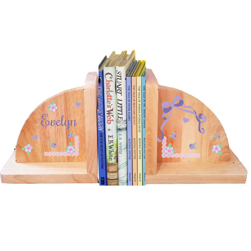 Personalized Lacey Bow Design Natural Bookends