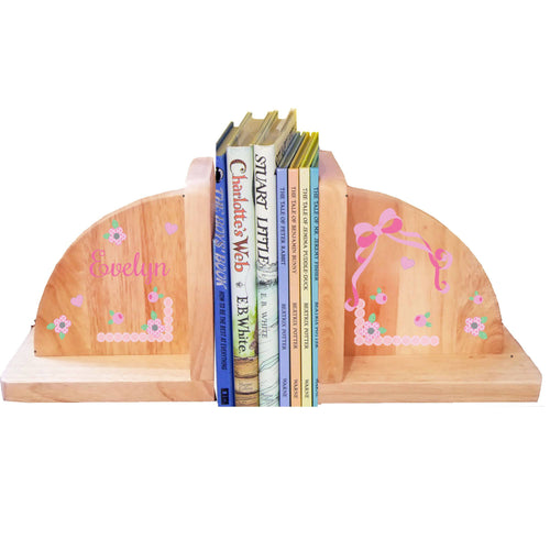 Personalized Pink Bow Natural Childrens Wooden Bookends
