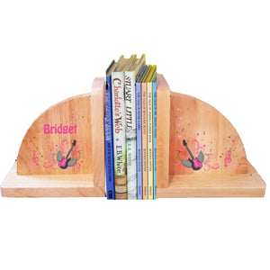 Personalized Rock Star Girl Natural Childrens Wooden Bookends